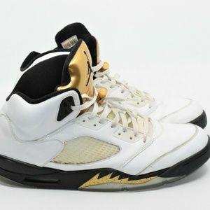 Nike Air Jordan Retro 5 White Olympic Gold Size 14